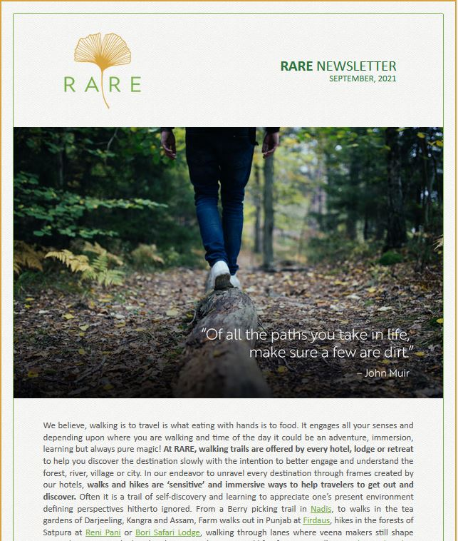 RARE Newsletter | Walking Immersions at RARE Hotels I Vol 43